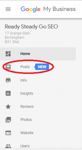 Google My Business Console with new Posts option